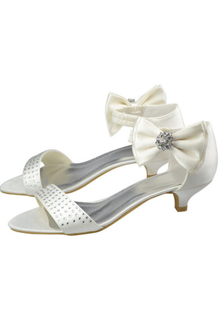Low Heel Classy Beading Ankle Straps Beaded Prom Shoes With Bow S101