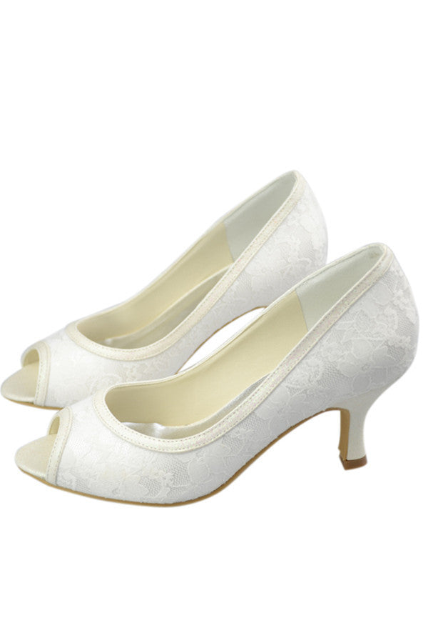 Low Heel Lace Peep Toe Handmade Ivory Nice Wedding Party Shoes S103
