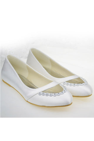 Real Beautiful Handmade Simple Cheap Comfy Beaded Ivory Flats S104