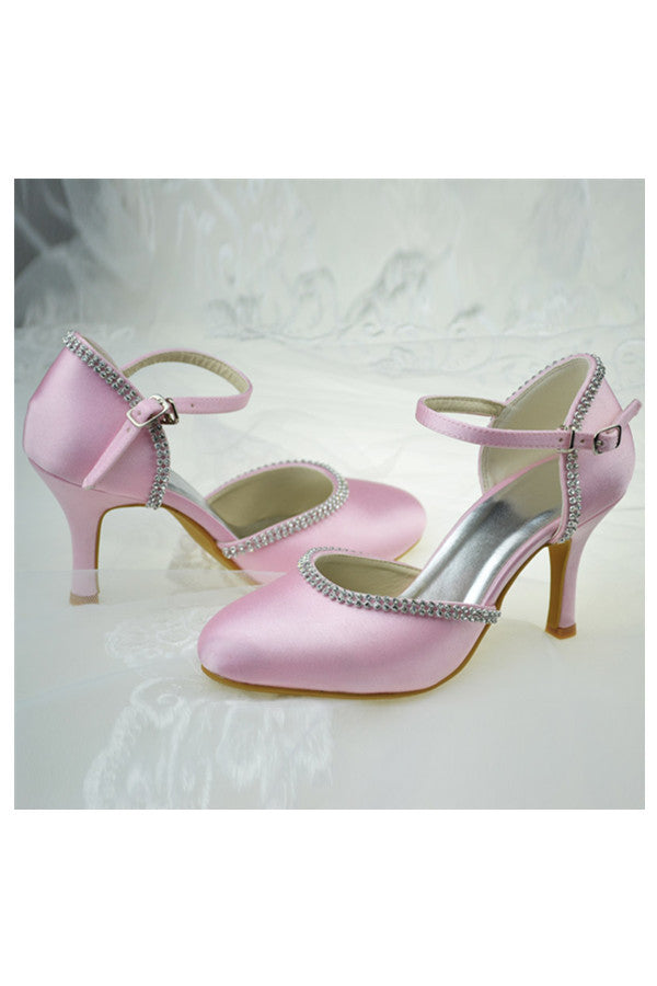 High Heel Ivory Satin Beading Close Toe Ankle Straps Women Shoes S108
