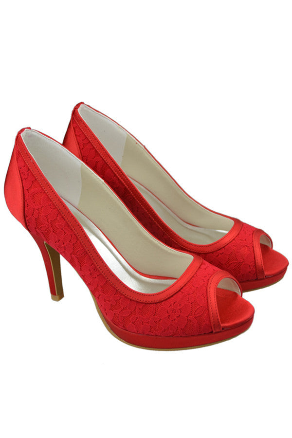 Red Lace High Heel Peep Toe Simple High Quality Wedding Shoes S109