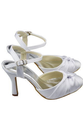 Simple Ankle Strap High Heel Close Toe Satin White Prom Shoes S111