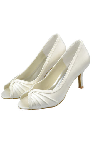 Satin Ivory Peep Toe Handmade Comfy Simple Cheap Women Shoes S112