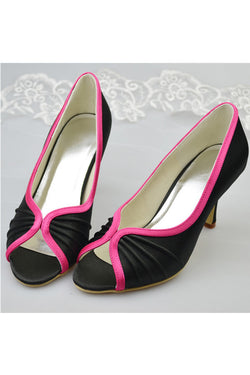 Black Simple Peep Toe Simple High Heel Prom Shoes For Women S113