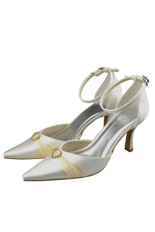 High Heel Ivory Ankle Straps Pointed Toe Beautiful Party Shoes S115