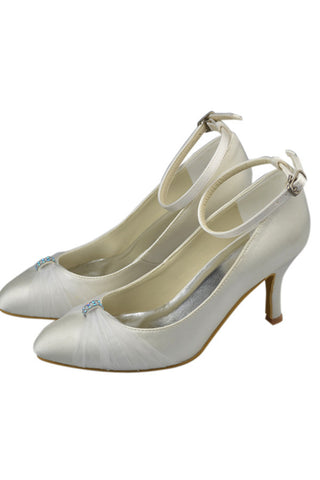 Ivory Beaded High Heel Satin Ankle Straps Close Toe Women Shoes S116