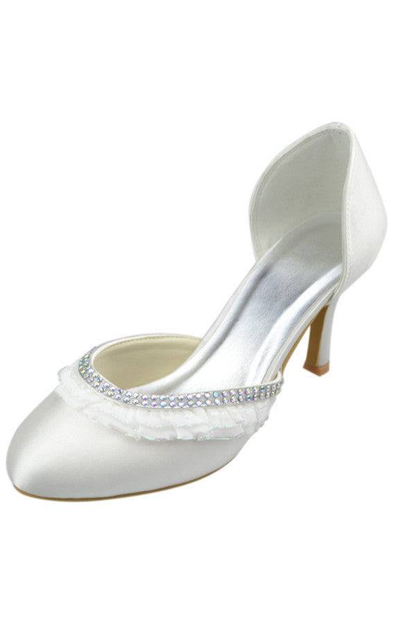 Round Toe Satin Lace Beading Satin Beautiful Cheap Prom Shoes S117