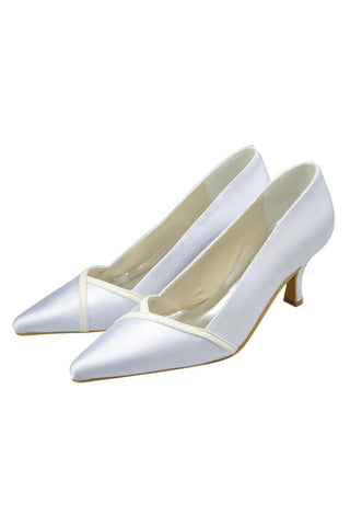 Pointed Toe White Satin Handmade Elegant Wedding Prom Shoes S118