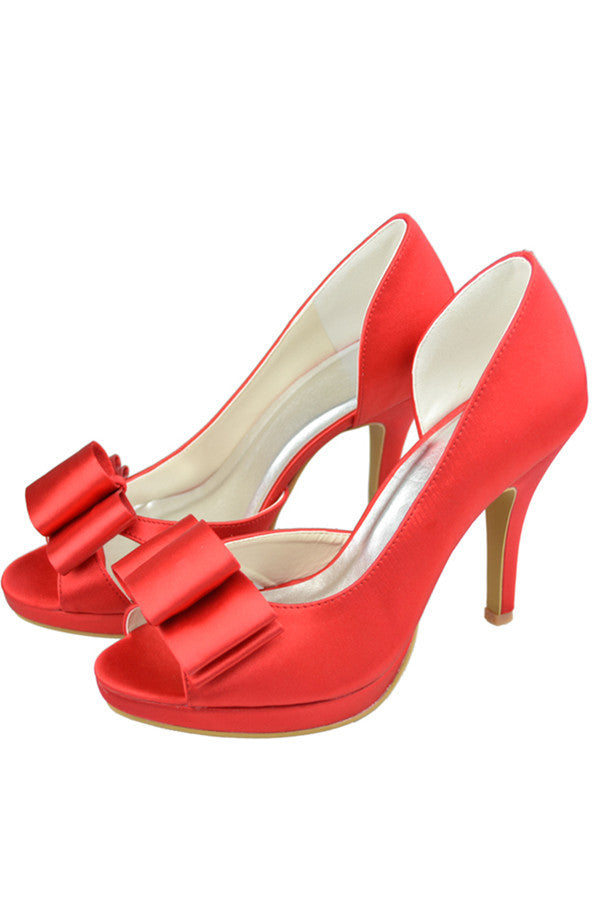 Red Satin Peep Toe High Heel Simple High Quality Classy Prom Shoes S119