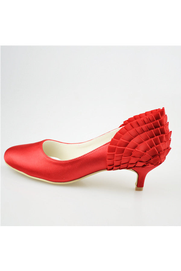 Red Low Heel Pretty Satin Handmade Free Shipping Wedding Shoes S121