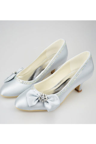 Silver Low Heel Beading Handmade Simple High Quality Prom Shoes S122