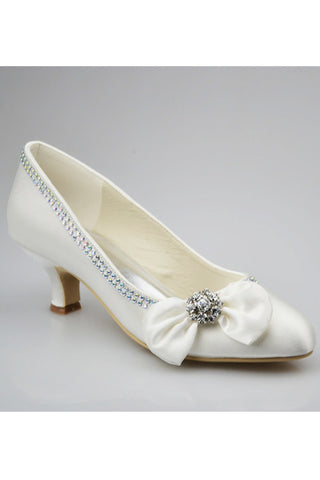 Ivory Low Heel Beading Handmade Simple Close Toe Women Shoes S123
