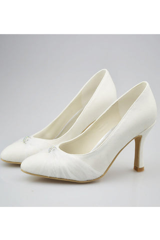 Simple Elegant Handmade Ivory Pointed Toe Cheap Wedding Shoes S125