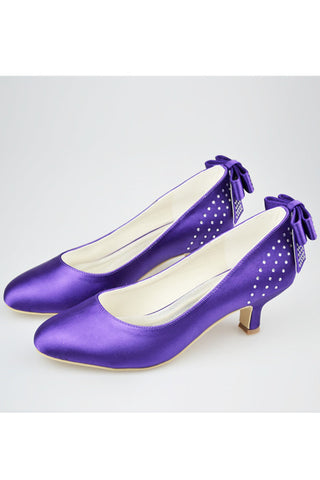 Purple Satin Beading Low Heel Close Toe Women Shoes With Bow S126