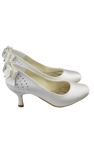 Ivory Classy Satin Beaded Low Heel Close Toe Wedding Shoes S128