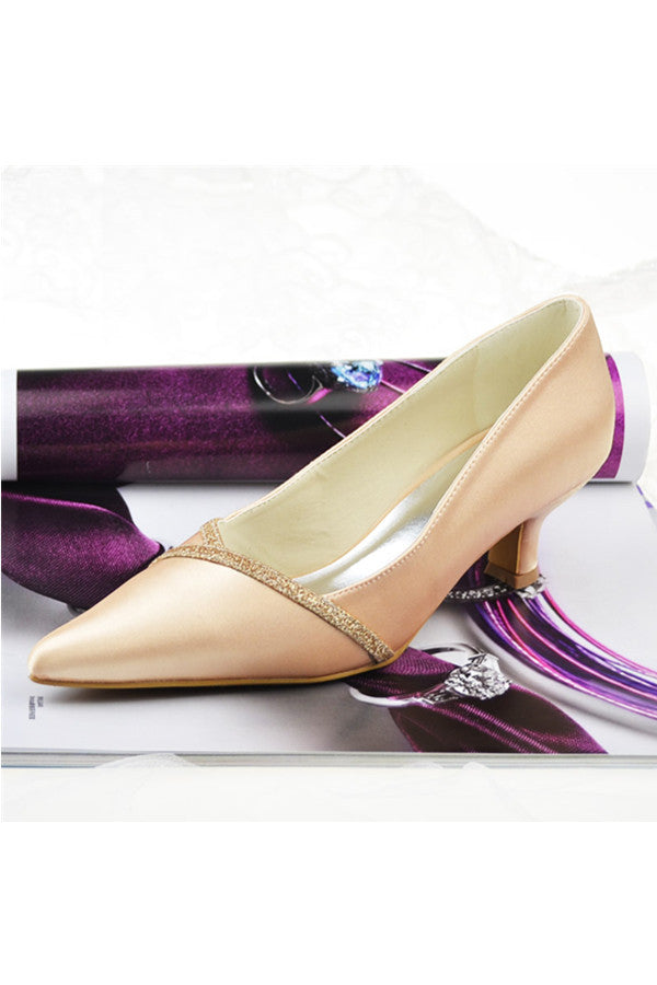 Charming Pointed Toe Low Heel Satin High Quality Party Shoes S129