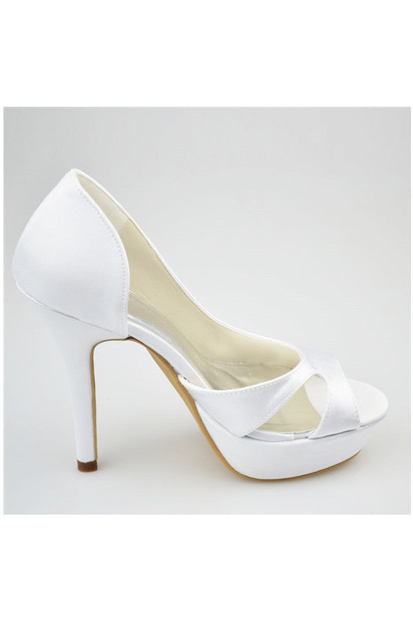 Real Nice White High Heel Peep Toe Satin Elegant Women Shoes S130