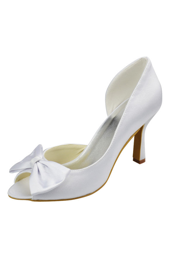 White Beautiful Elegant Satin White Prom Shoes With Bow S80