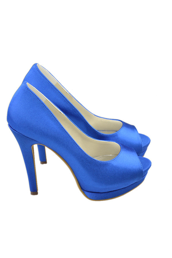 High Heel Simple Comfy Royal Blue Handmade Women Shoes S81