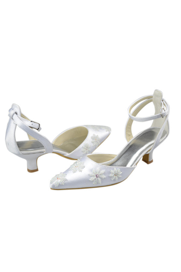 Ankle Strap Pointed Toe Handmade White Prom Shoes With Flower S83