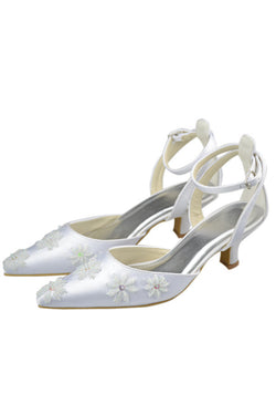 713746d3a1e8 Ankle Strap Pointed Toe Handmade White Prom Shoes With Flower S83