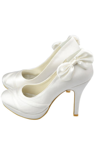 High Heel Ivory Elegant Comfy Simple Wedding Shoes S84