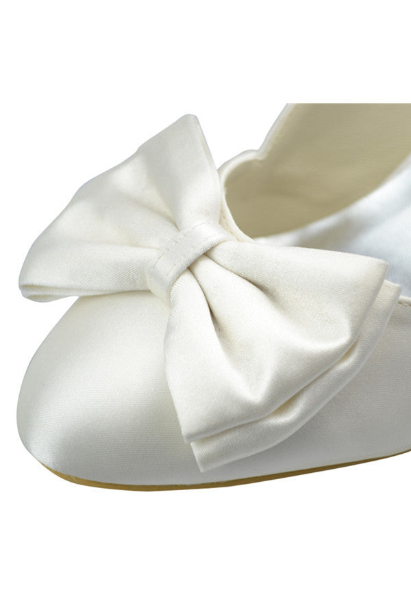 Simple Elegant Ivory Satin Low Heel Wedding Party Shoes S85