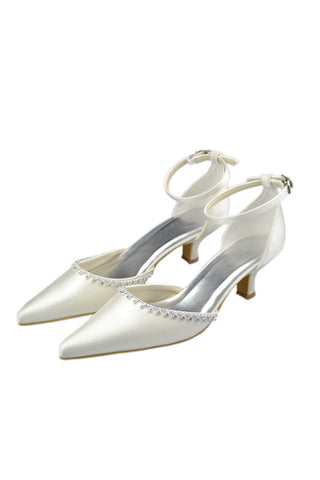 Ivory Ankle Strap Pointed Toe Handmade Simple Wedding Shoes S86