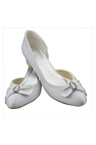 Simple Close Toe Cheap Handmade Low Heel White Prom Shoes S87