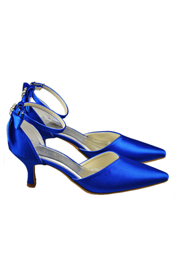 Sparkly Royal Blue Ankle Strap Low Heel Party Shoes S88