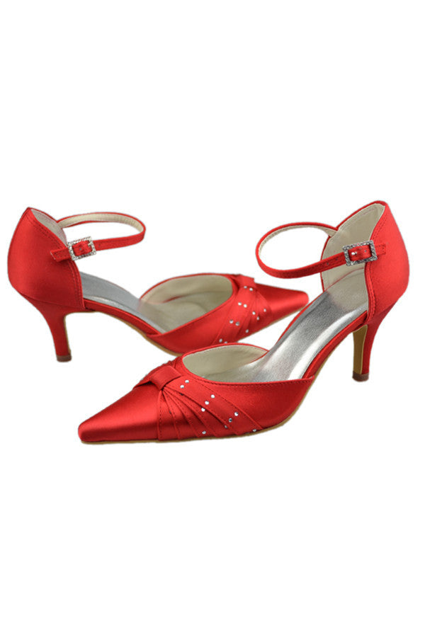 Red Pointed Toe Handmade Beads Comfy Women Shoes S89