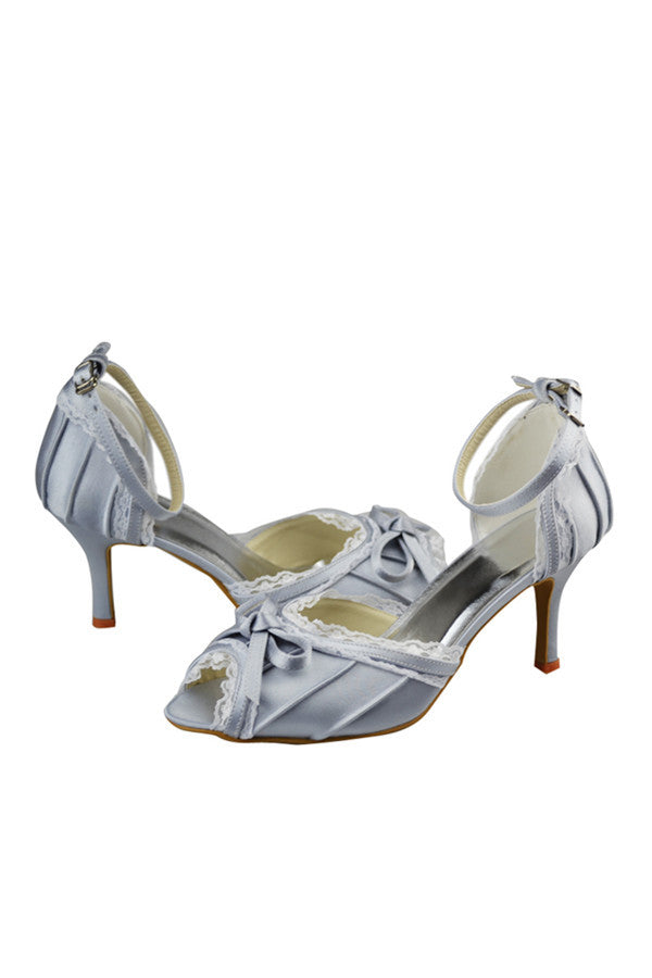 Silver Satin Lace Ankle Strap Peep Toe Party Shoes S90