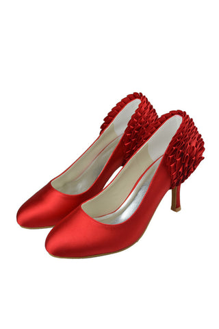 Close Toe Simple Handmade Comfy Cheap Red Wedding Shoes S91