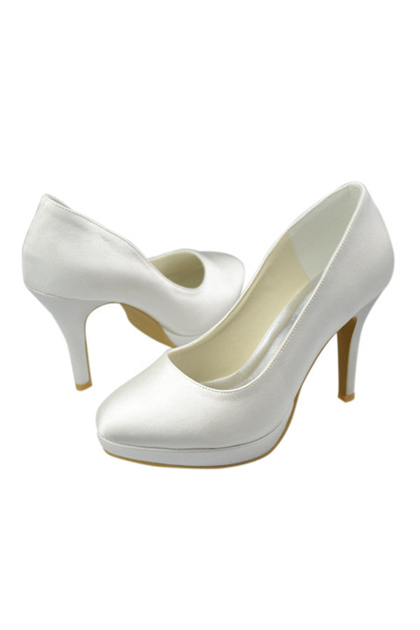Simple Handmade Satin Ivory High Heel Wedding Shoes S93