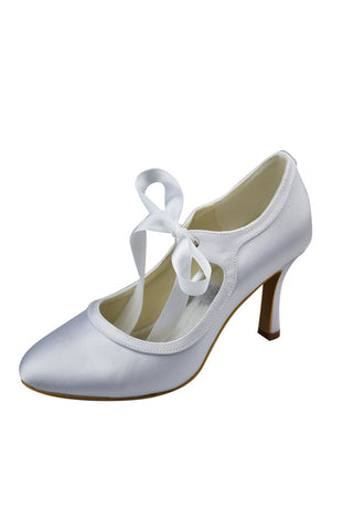 Simple White Close Toe Cheap Beauty Prom Shoes S95
