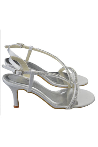 Pretty Beading Handmade White Satin High Heel Sandals S96