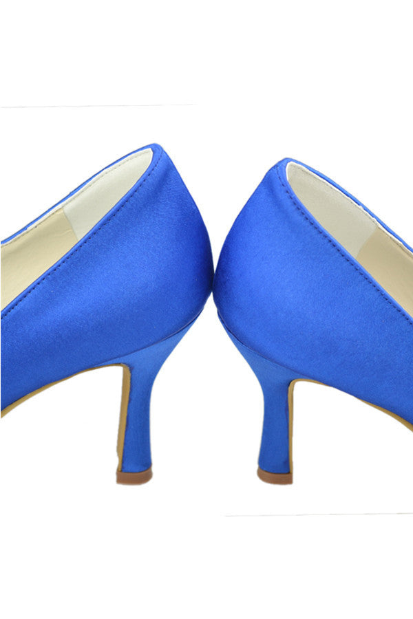 Simple Blue Satin Cheap Handmade Mary Jane Shoes S97