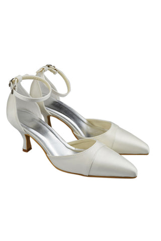 Ivory Ankle Strap Close Toe Low Heel Wedding Party Shoes S98