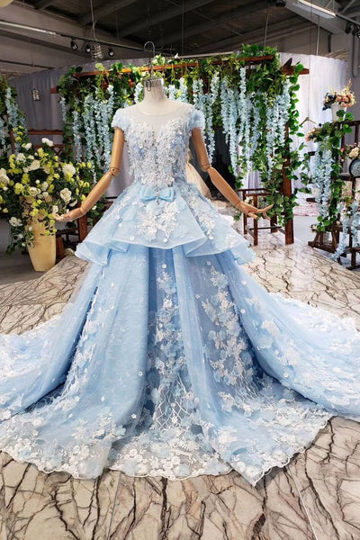 Princess Light Sky Blue Prom Dress with Flowers, Ball Gown Quinceanera Dress OKP50