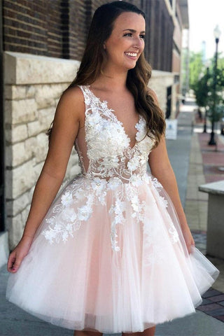 See Through Lace Appliqued Homecoming Dresses V Neck Short Hoco Dress OKO13