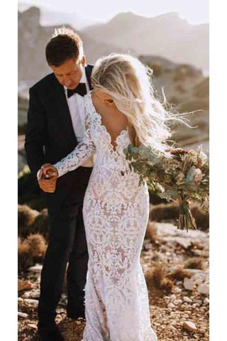 See Through Lace Long Sleeve Backless Mermaid Wedding Dress OKF82