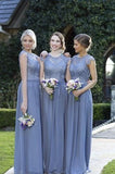 Beautiful A Line Ling Chiffon Cap Sleeves Lace Top Bridesmaid Dress OKG53