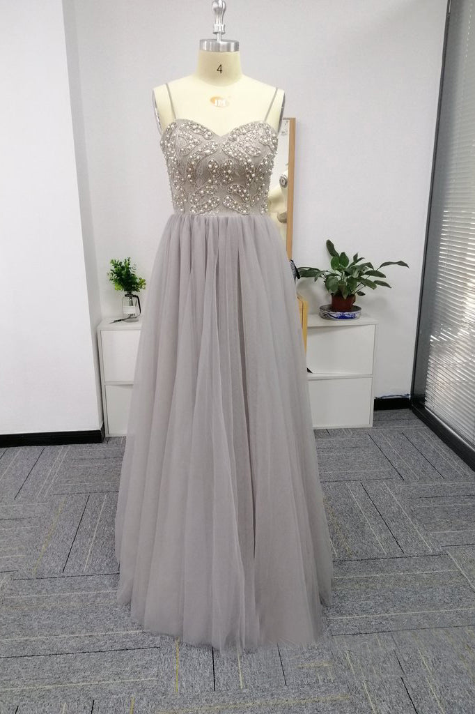 Silver Spaghetti Straps Beaded Bodice Tulle A Line Prom Dresses OKS82