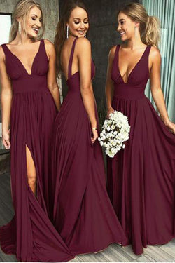 Burgundy A Line Deep V Neck Cheap Bridesmaid Dresses For Wedding OKI92
