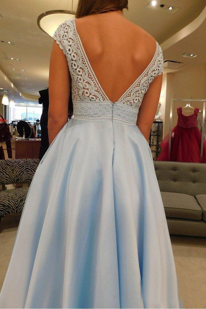 Simple V-Neck A Line Lace Cap Sleeves Sky Blue Prom Dresses for Junior OKS79