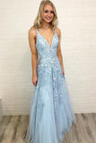Sky Blue Lace Appliques Straps Long V Neck Prom Dresses OKH45