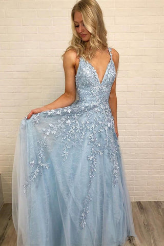 656751faba5f Sky Blue Lace Appliques Straps Long V Neck Prom Dresses OKH45 ...