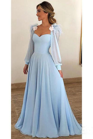 Light Blue A Line Long Chiffon Prom Dresses with Sleeves Modest Forma Evening Dress OKH42