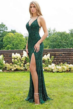 Spaghetti Strap Emerald Green Prom Dresses Slit Sheath Sequined Formal Evening Dress OKI63