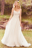 Spaghetti Strap Ivory Wedding Dress A Line Beaded Bridal Gowns OKP85